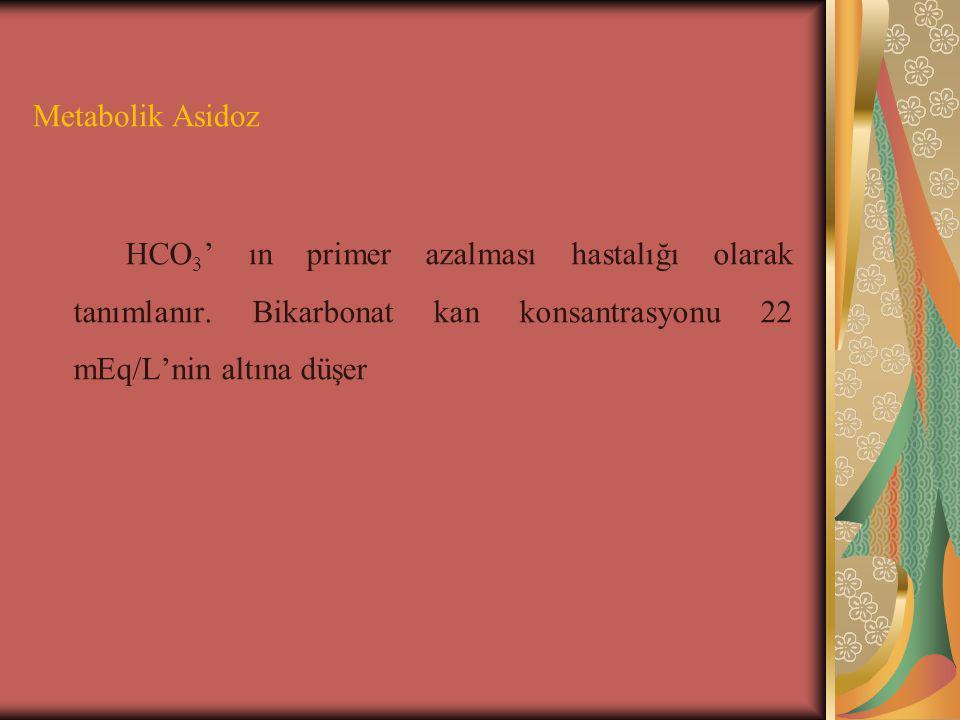 Metabolik Asidoz HCO3' ın primer azalması hastalığı olarak tanımlanır.