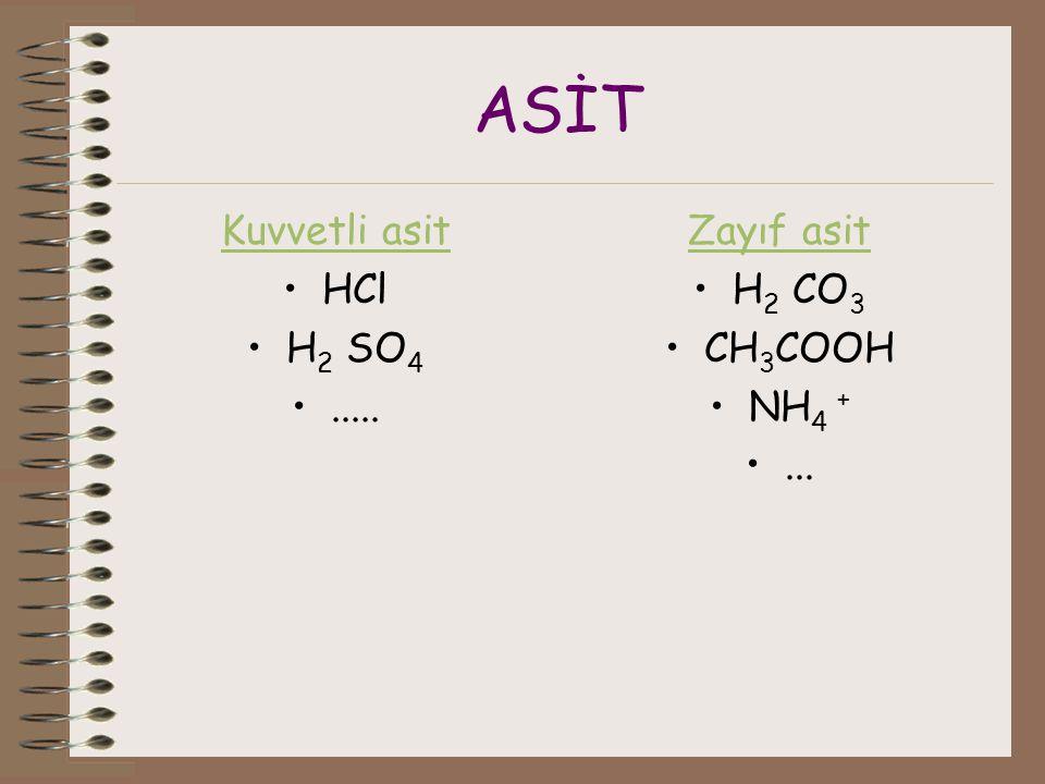 ASİT Kuvvetli asit HCl H2 SO4 ..... Zayıf asit H2 CO3 CH3COOH NH4 +