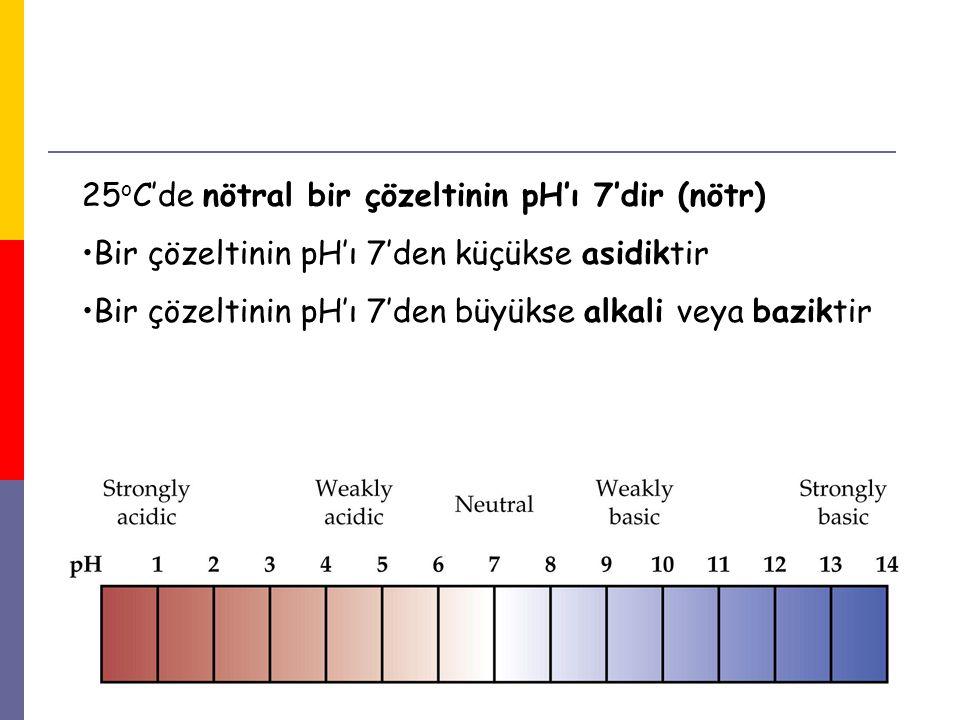 25oC'de nötral bir çözeltinin pH'ı 7'dir (nötr)