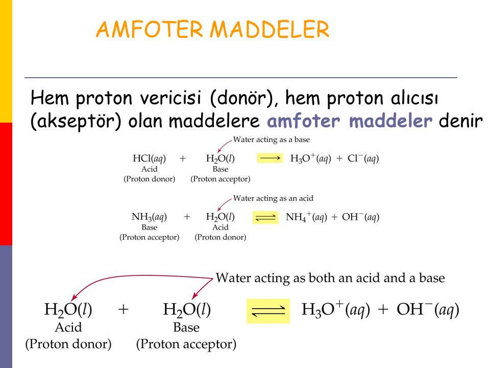 AMFOTER MADDELER Hem proton vericisi (donör), hem proton alıcısı (akseptör) olan maddelere amfoter maddeler denir.