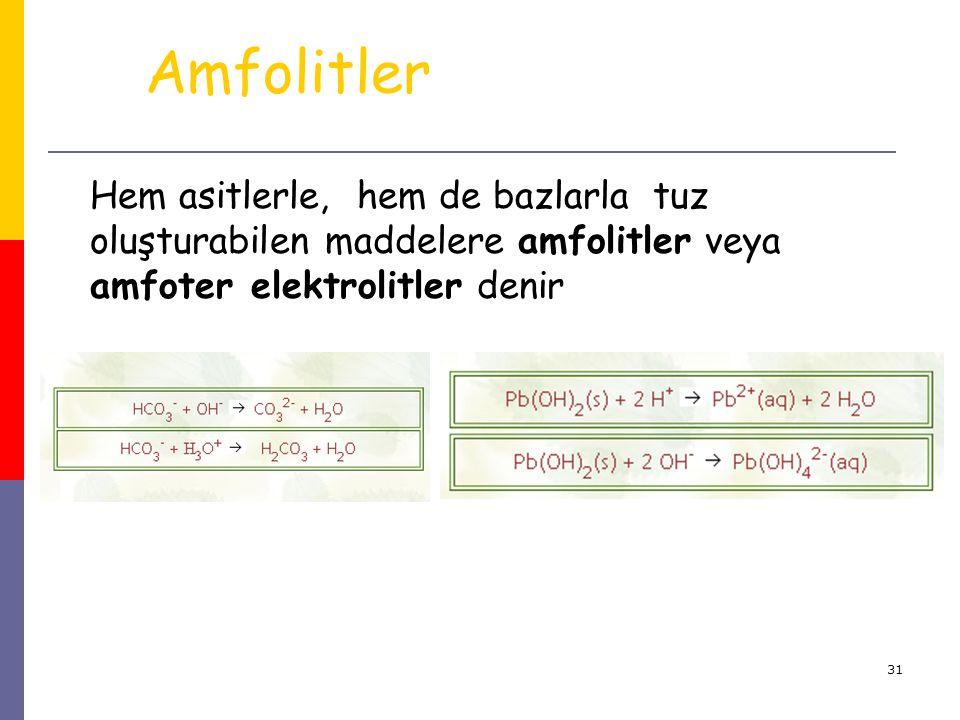 Amfolitler Hem asitlerle, hem de bazlarla tuz oluşturabilen maddelere amfolitler veya amfoter elektrolitler denir.