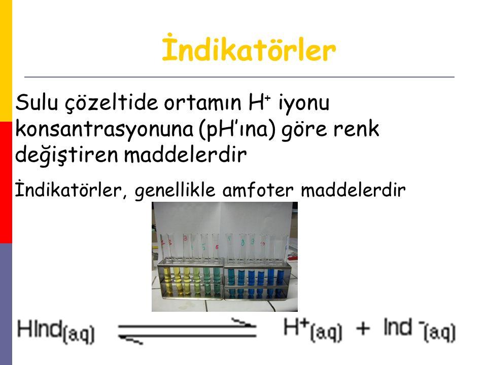 İndikatörler Sulu çözeltide ortamın H+ iyonu konsantrasyonuna (pH'ına) göre renk değiştiren maddelerdir.