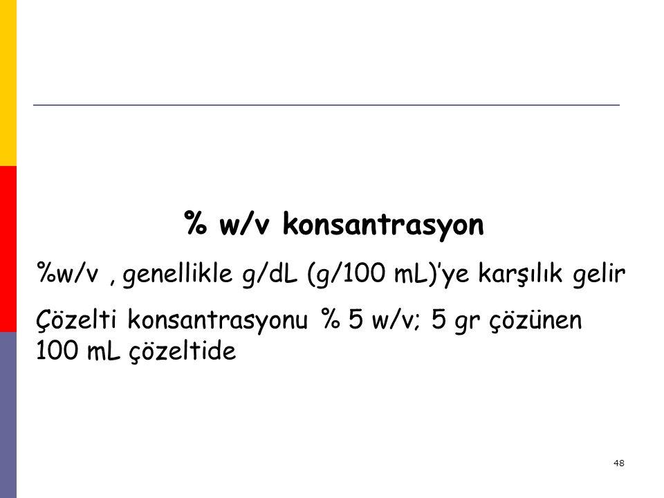 % w/v konsantrasyon %w/v , genellikle g/dL (g/100 mL)'ye karşılık gelir.