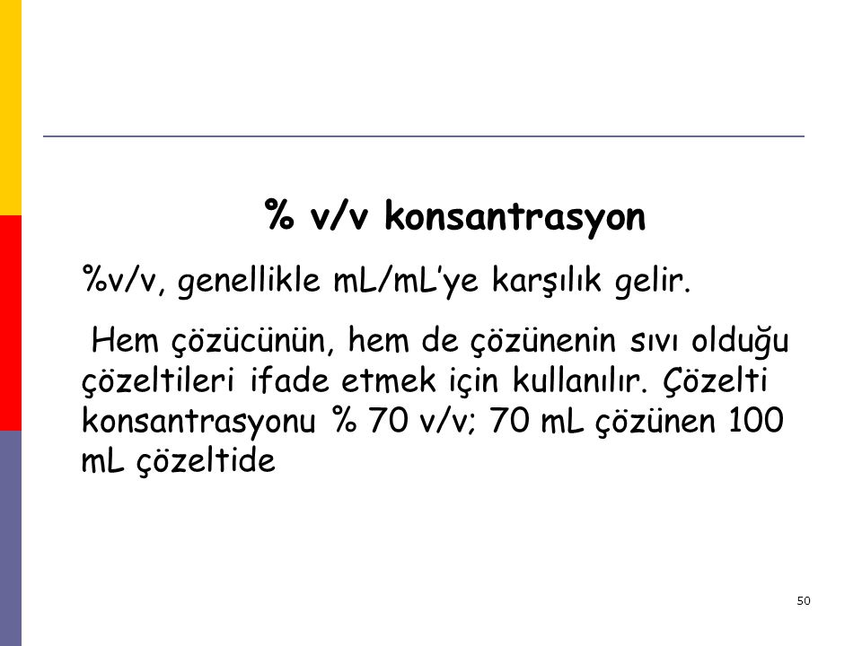 % v/v konsantrasyon %v/v, genellikle mL/mL'ye karşılık gelir.