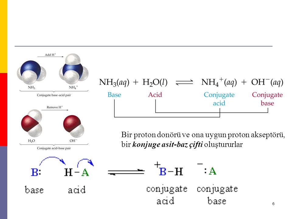 Bir proton donörü ve ona uygun proton akseptörü, bir konjuge asit-baz çifti oluştururlar