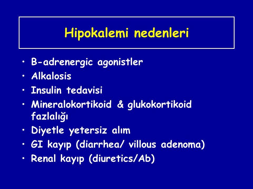 Hipokalemi nedenleri B-adrenergic agonistler Alkalosis