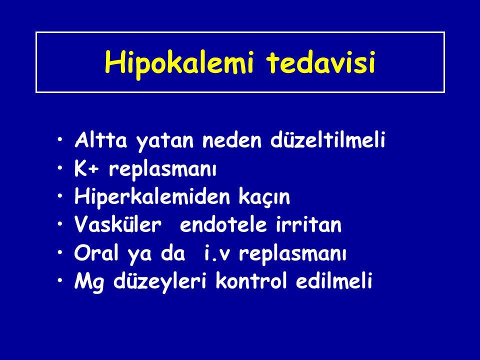 Hipokalemi tedavisi Altta yatan neden düzeltilmeli K+ replasmanı
