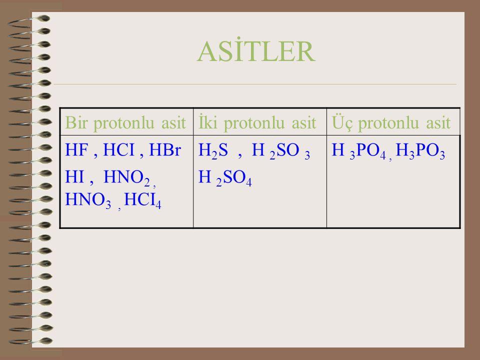 ASİTLER Bir protonlu asit İki protonlu asit Üç protonlu asit