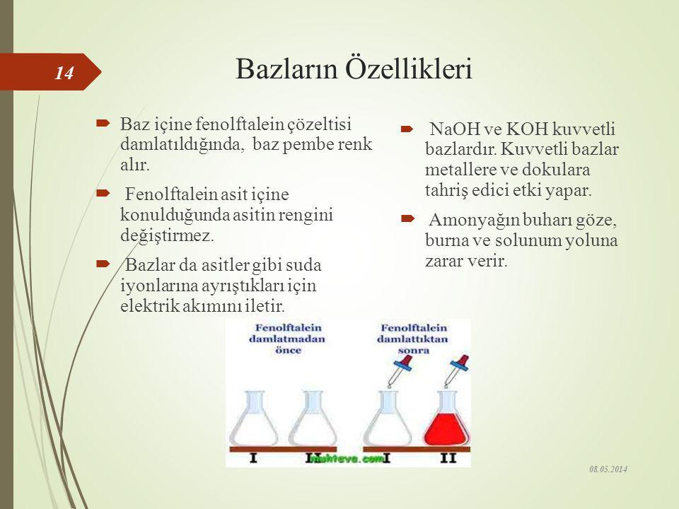Bazların Özellikleri Baz içine fenolftalein çözeltisi damlatıldığında, baz pembe renk alır.