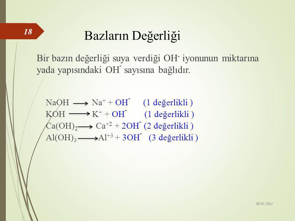 Bazların Değerliği Bir bazın değerliği suya verdiği OH- iyonunun miktarına yada yapısındaki OH- sayısına bağlıdır.
