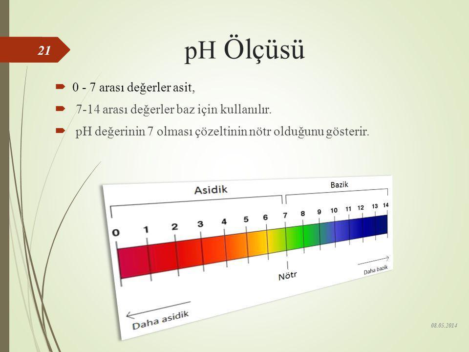 pH Ölçüsü 0 - 7 arası değerler asit,