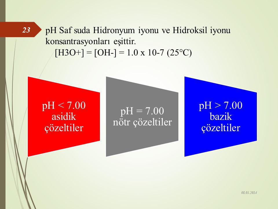 pH < 7.00 asidik çözeltiler pH = 7.00 nötr çözeltiler