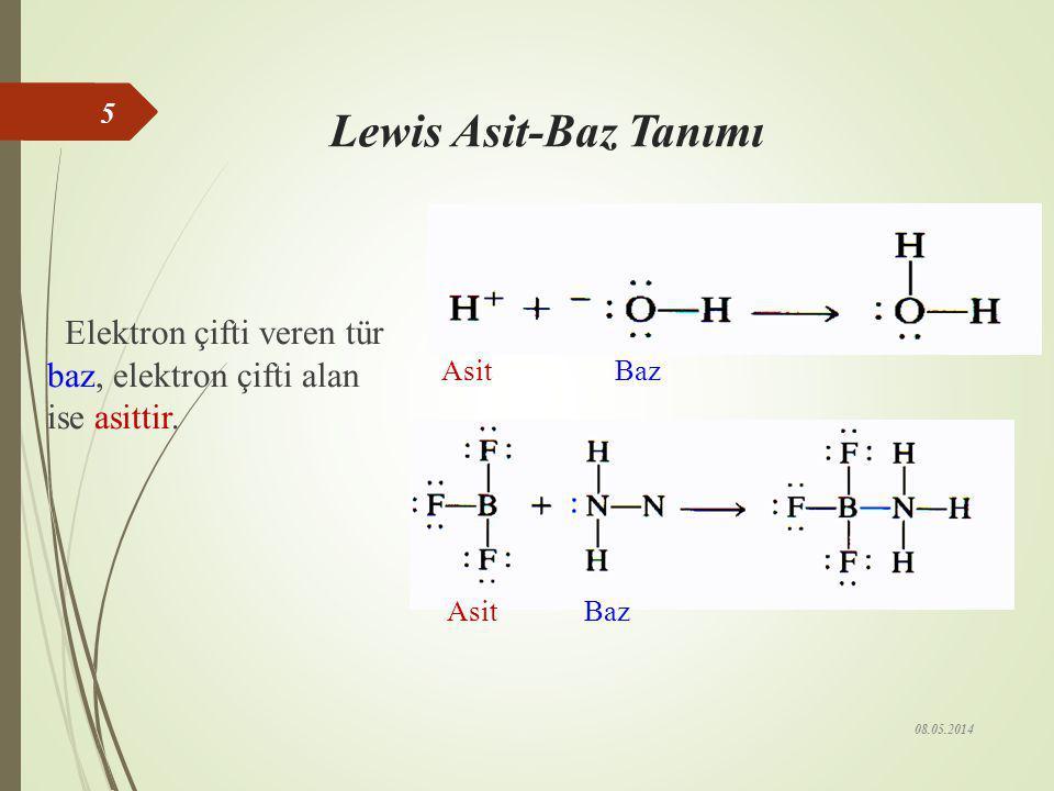 Lewis Asit-Baz Tanımı Elektron çifti veren tür baz, elektron çifti alan ise asittir. Asit Baz.
