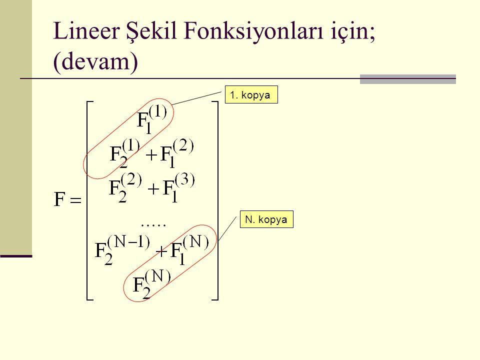 Lineer Şekil Fonksiyonları için; (devam)