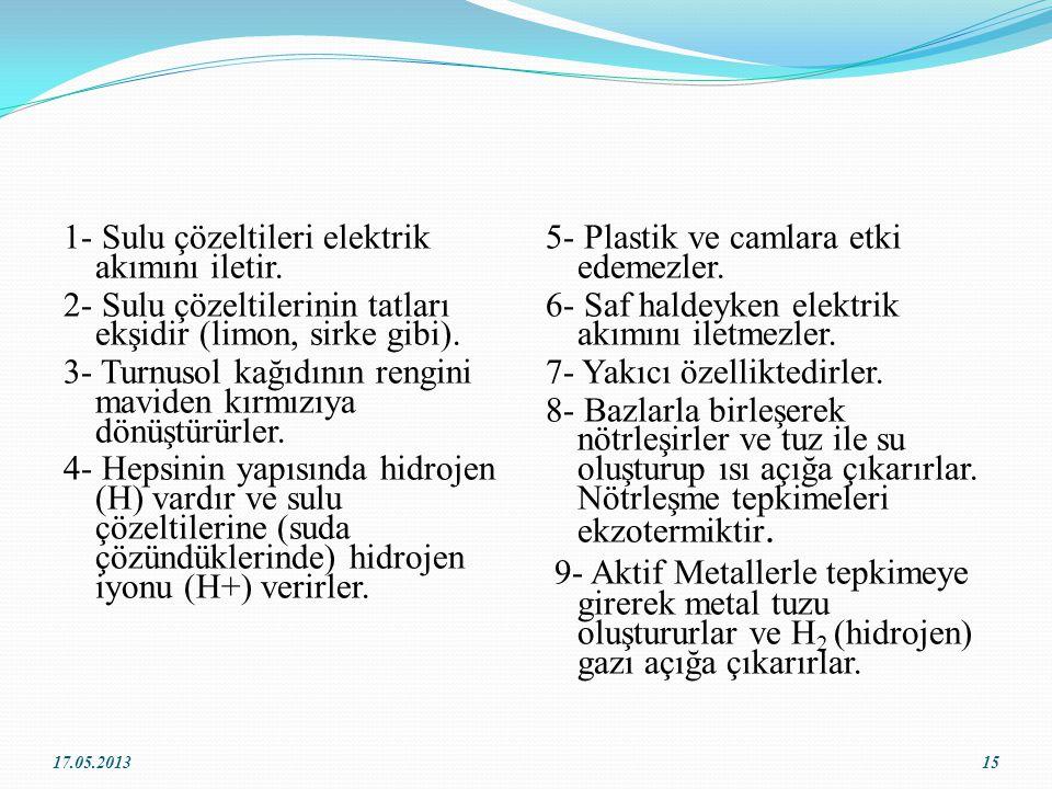1- Sulu çözeltileri elektrik akımını iletir