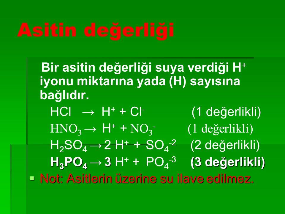 Asitin değerliği HCl → H+ + Cl- (1 değerlikli)