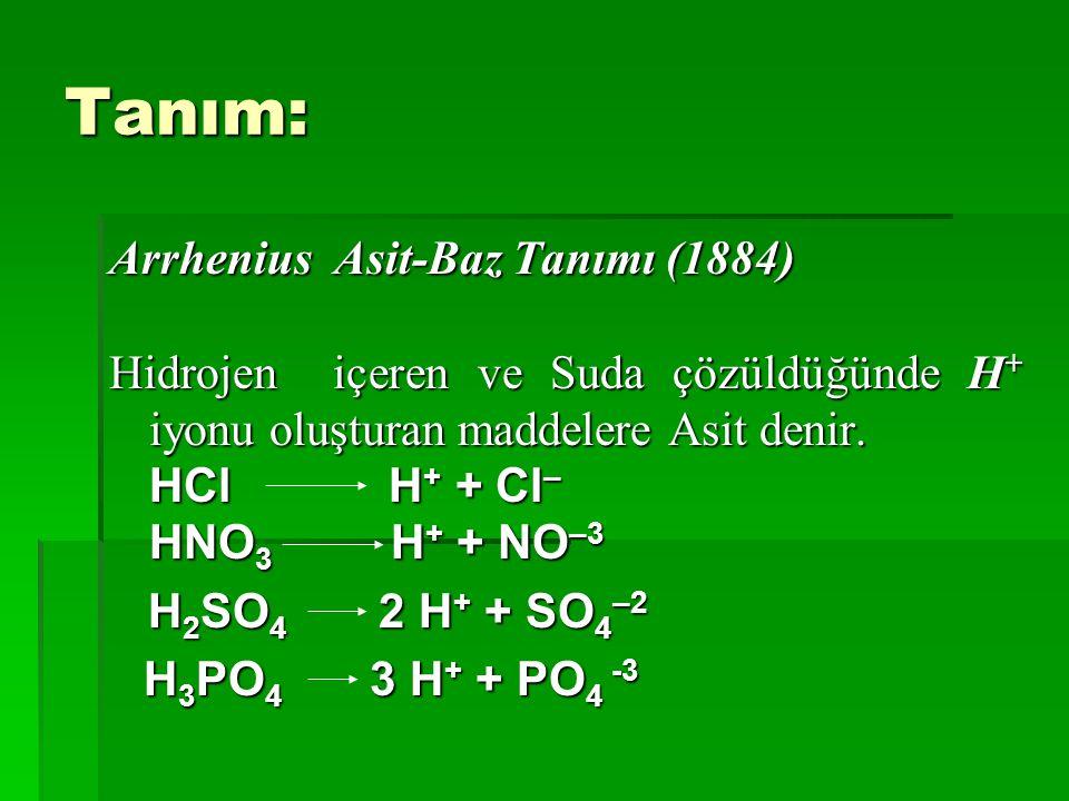 Tanım: Arrhenius Asit-Baz Tanımı (1884)