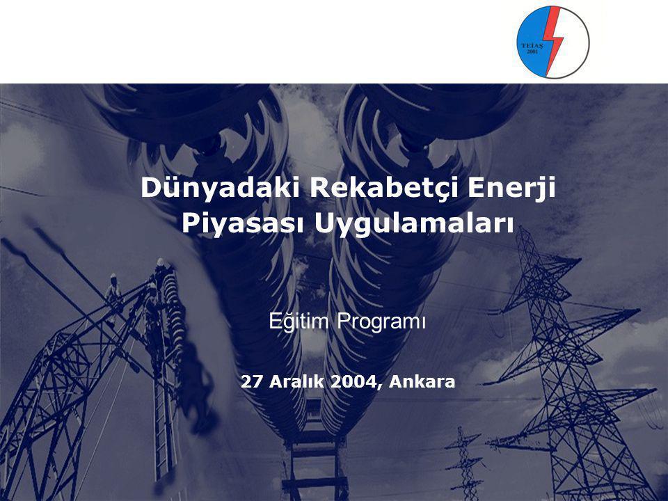 GÜNDEM 1. Dünyadaki Rekabetçi Elektrik Piyasası Uygulamaları