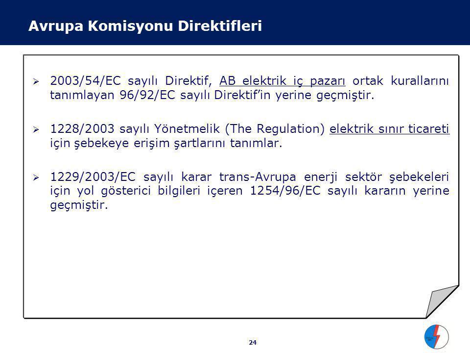 2003/54/EC sayılı Direktif Temmuz 2004 tarihine kadar tüm mesken dışı tüketicilere piyasanın açılması,