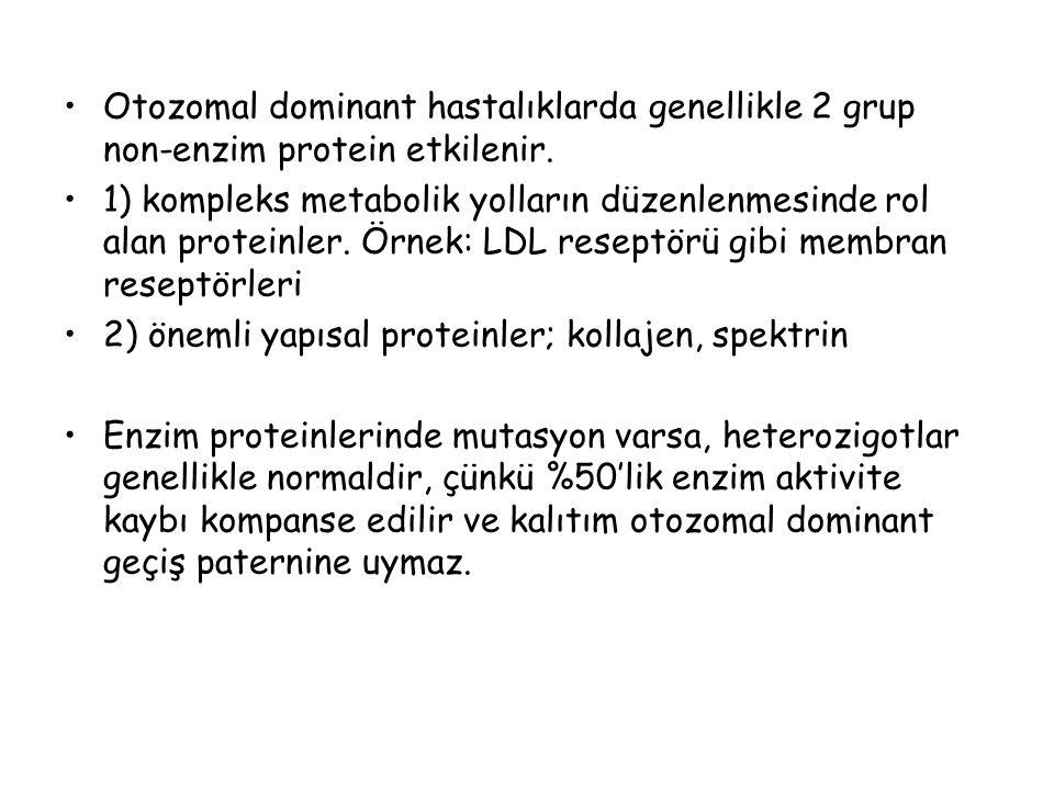 Otozomal dominant hastalıklarda genellikle 2 grup non-enzim protein etkilenir.