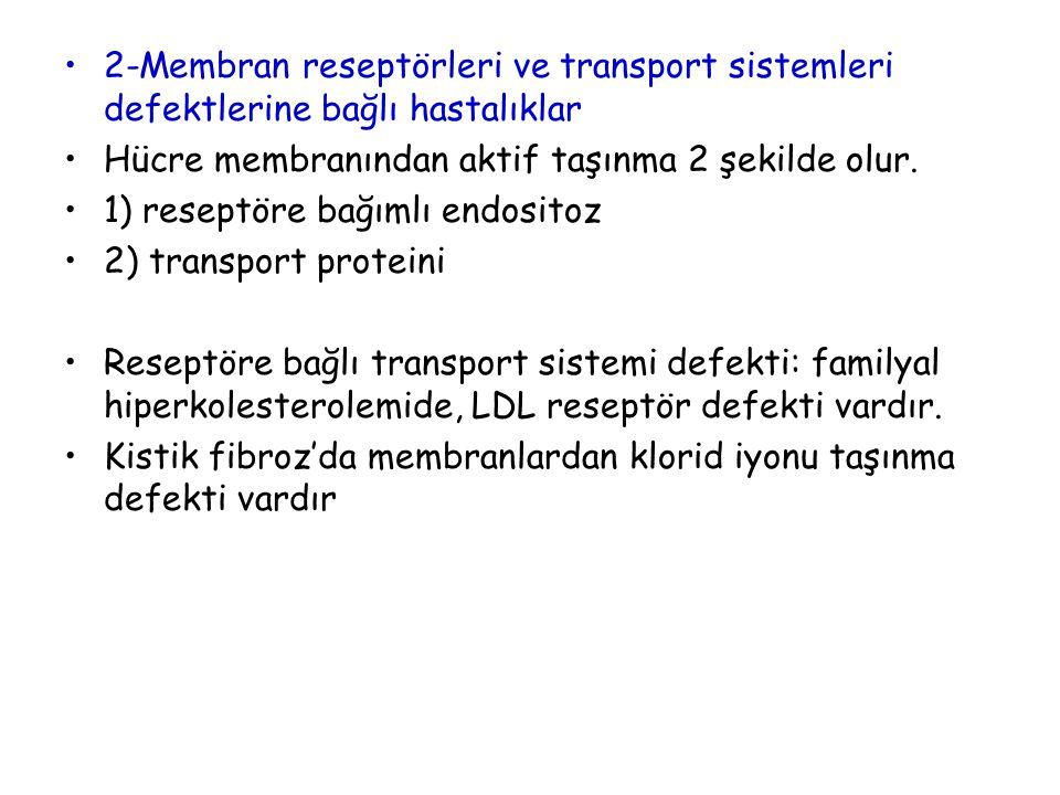 2-Membran reseptörleri ve transport sistemleri defektlerine bağlı hastalıklar