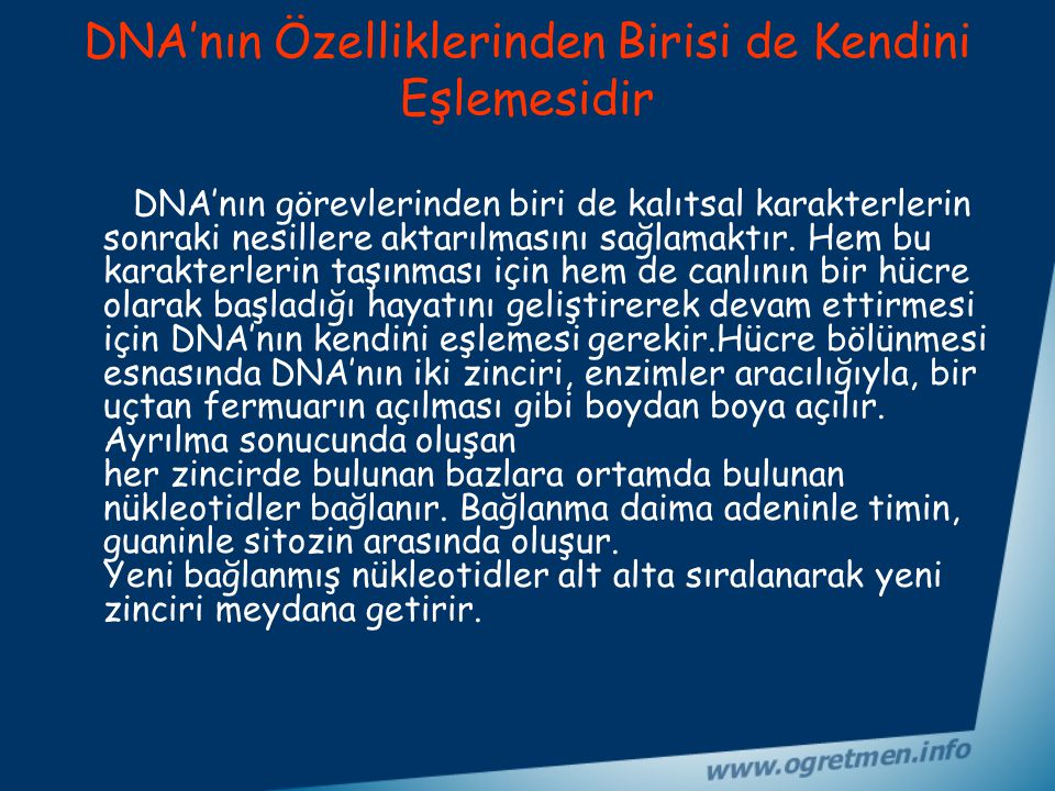 DNA'nın Özelliklerinden Birisi de Kendini Eşlemesidir
