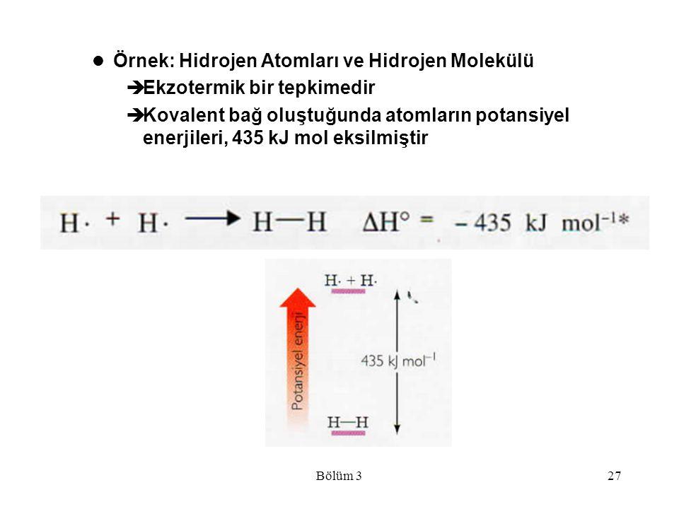 Örnek: Hidrojen Atomları ve Hidrojen Molekülü