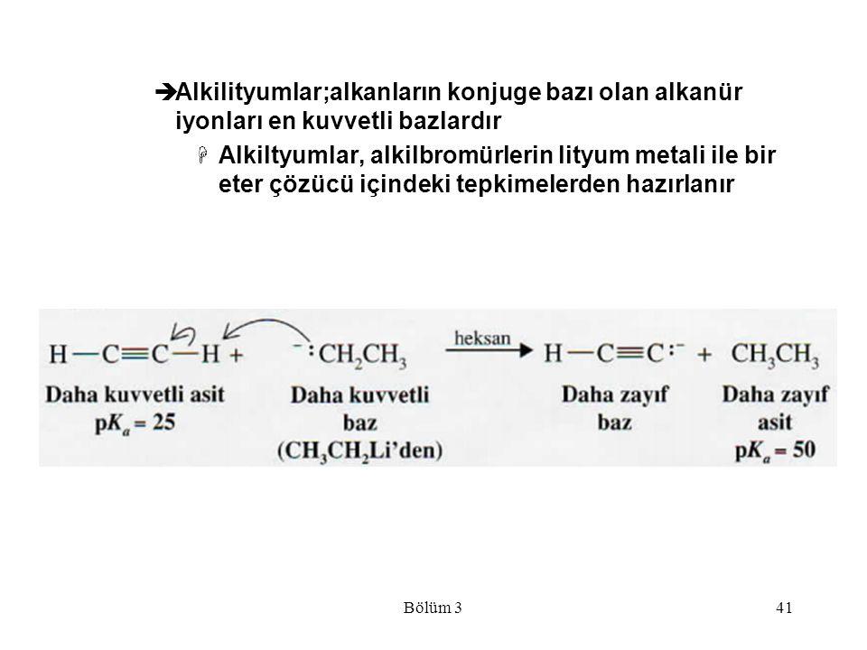 Alkilityumlar;alkanların konjuge bazı olan alkanür iyonları en kuvvetli bazlardır