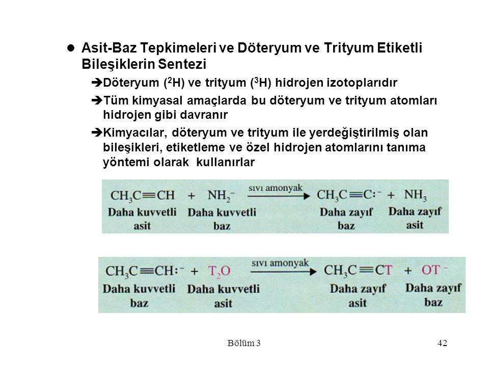 Asit-Baz Tepkimeleri ve Döteryum ve Trityum Etiketli Bileşiklerin Sentezi