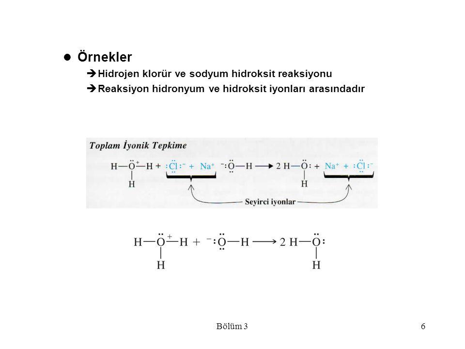 Örnekler Hidrojen klorür ve sodyum hidroksit reaksiyonu