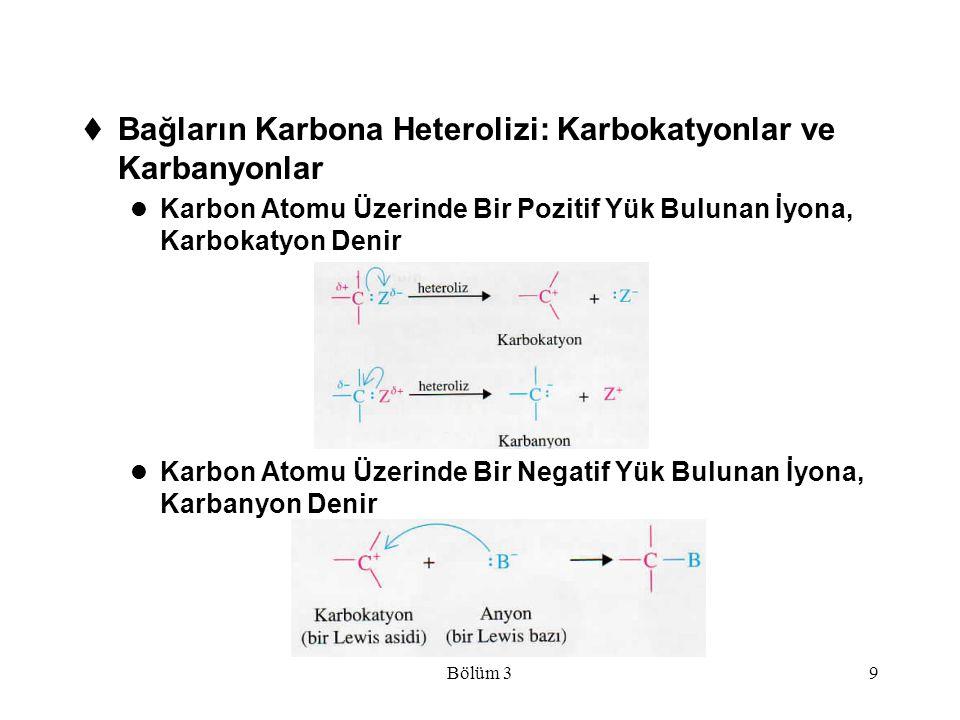 Bağların Karbona Heterolizi: Karbokatyonlar ve Karbanyonlar