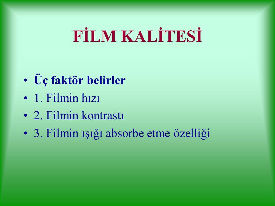 FİLM KALİTESİ Üç faktör belirler 1. Filmin hızı 2. Filmin kontrastı