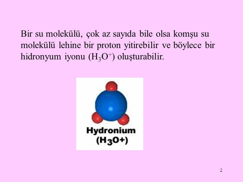 Bir su molekülü, çok az sayıda bile olsa komşu su molekülü lehine bir proton yitirebilir ve böylece bir hidronyum iyonu (H3O+) oluşturabilir.