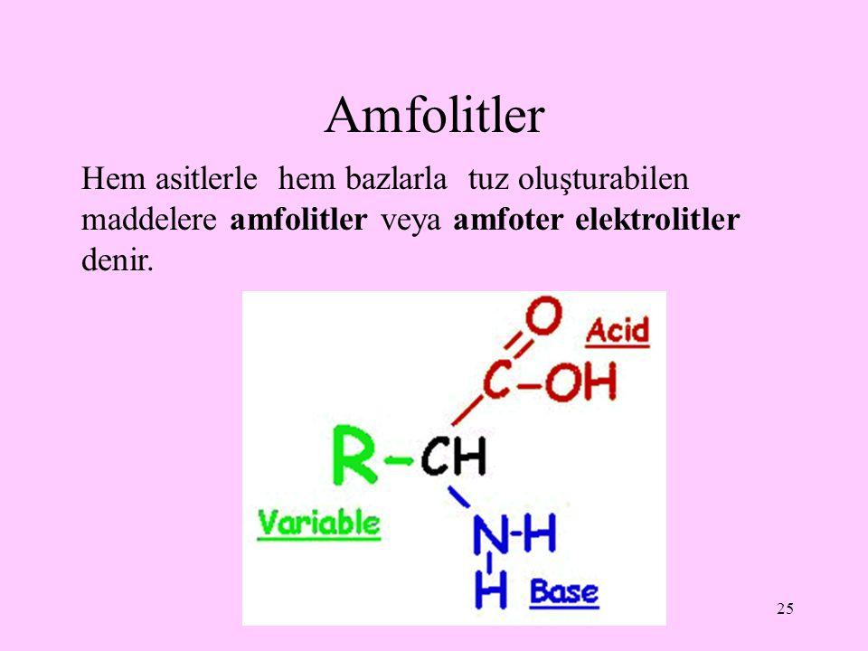 Amfolitler Hem asitlerle hem bazlarla tuz oluşturabilen maddelere amfolitler veya amfoter elektrolitler denir.