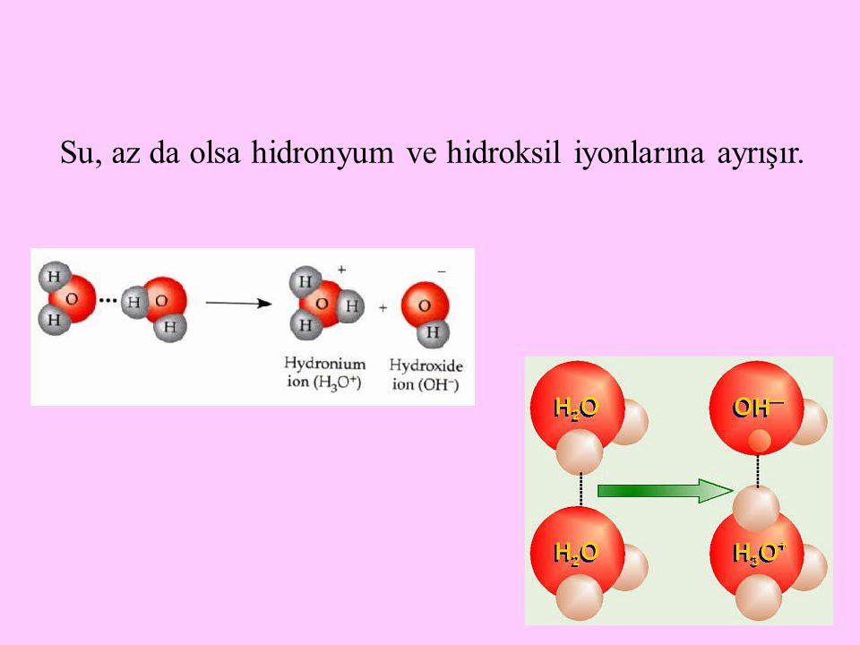 Su, az da olsa hidronyum ve hidroksil iyonlarına ayrışır.