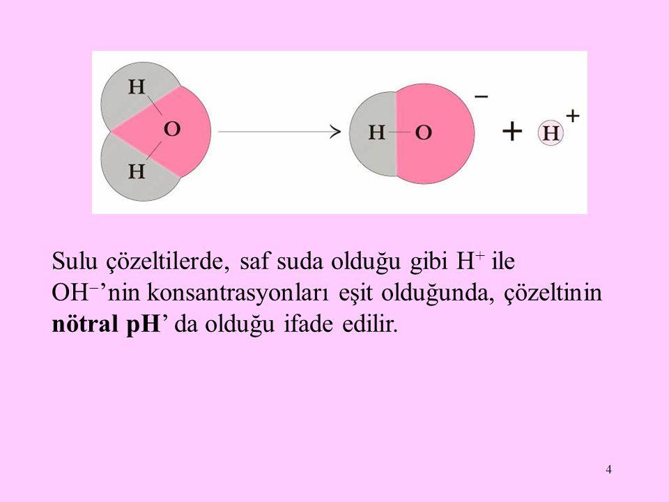Sulu çözeltilerde, saf suda olduğu gibi H+ ile OH'nin konsantrasyonları eşit olduğunda, çözeltinin nötral pH' da olduğu ifade edilir.