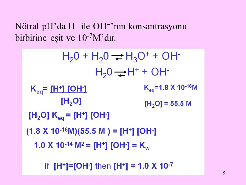 Nötral pH'da H+ ile OH'nin konsantrasyonu birbirine eşit ve 10-7M'dır.