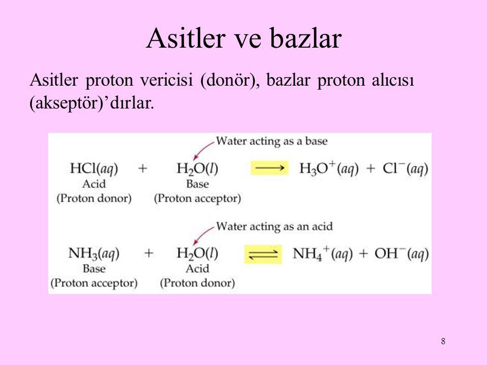 Asitler ve bazlar Asitler proton vericisi (donör), bazlar proton alıcısı (akseptör)'dırlar.