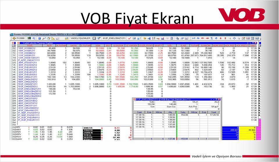 VOB Fiyat Ekranı