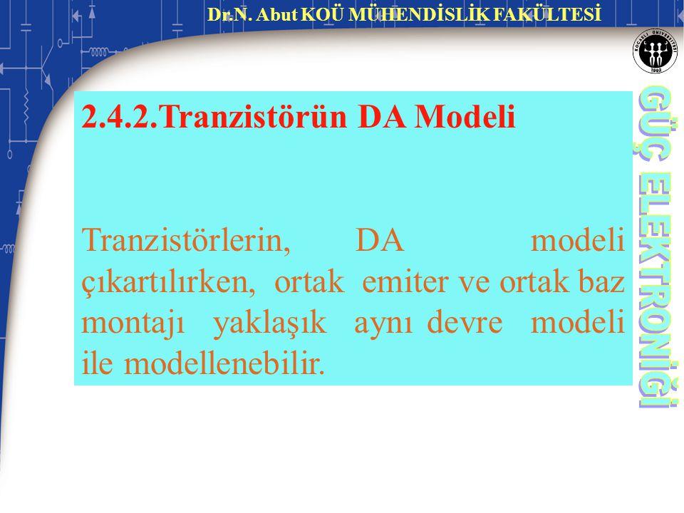2.4.2.Tranzistörün DA Modeli