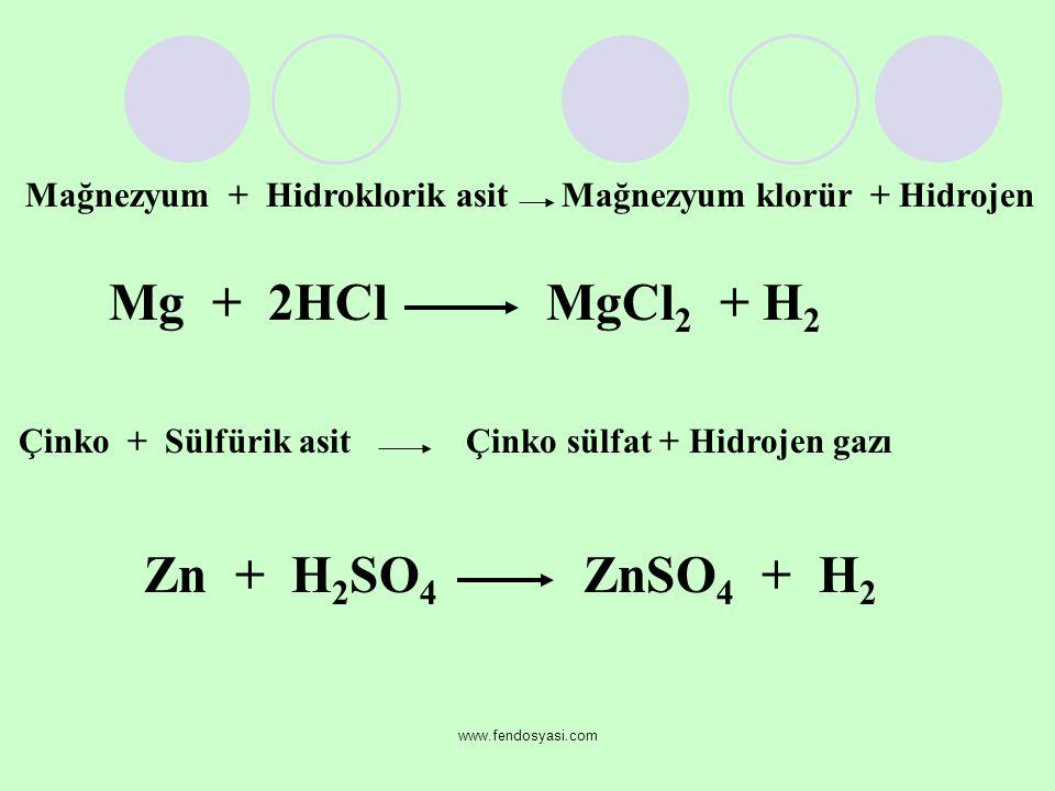 Mağnezyum + Hidroklorik asit Mağnezyum klorür + Hidrojen