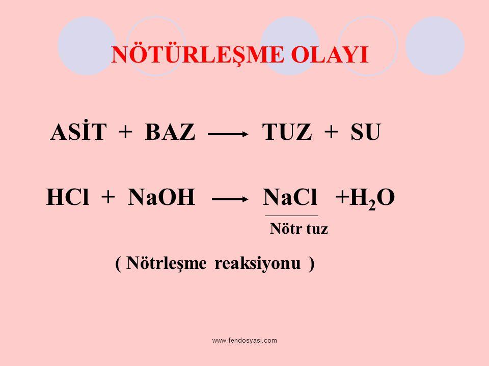 NÖTÜRLEŞME OLAYI ASİT + BAZ TUZ + SU ( Nötrleşme reaksiyonu ) Nötr tuz