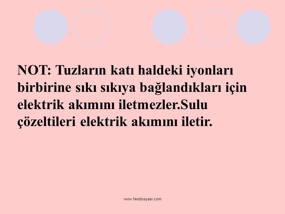 NOT: Tuzların katı haldeki iyonları birbirine sıkı sıkıya bağlandıkları için elektrik akımını iletmezler.Sulu çözeltileri elektrik akımını iletir.