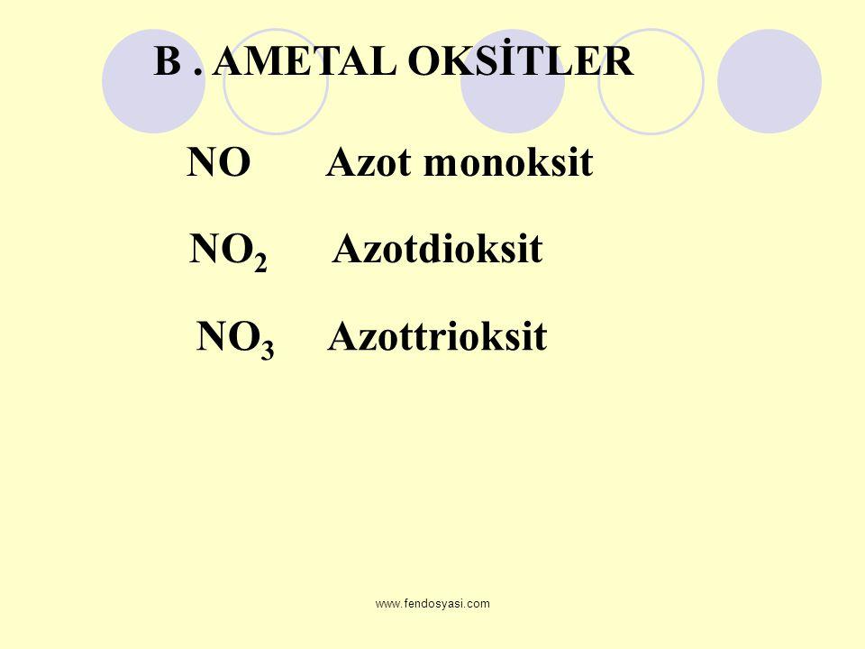 B . AMETAL OKSİTLER NO2 Azotdioksit NO3 Azottrioksit NO Azot monoksit