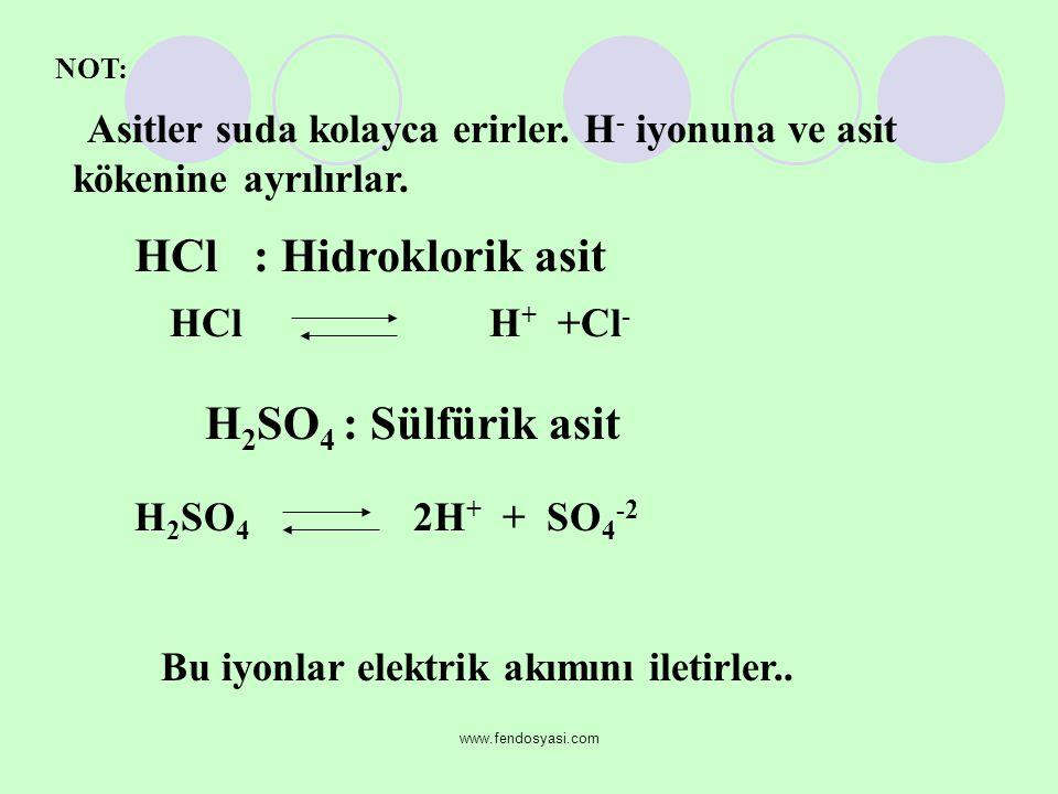 HCl : Hidroklorik asit H2SO4 : Sülfürik asit HCl H+ +Cl-