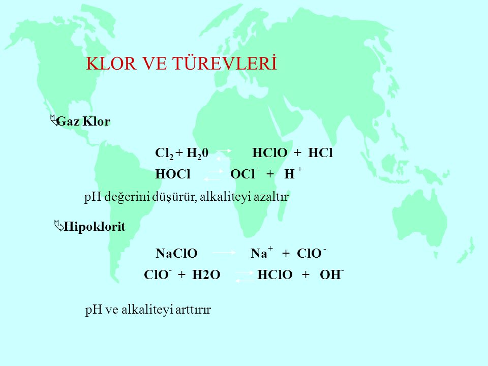 KLOR VE TÜREVLERİ Gaz Klor Cl2 + H20 HClO + HCl HOCl OCl - + H +