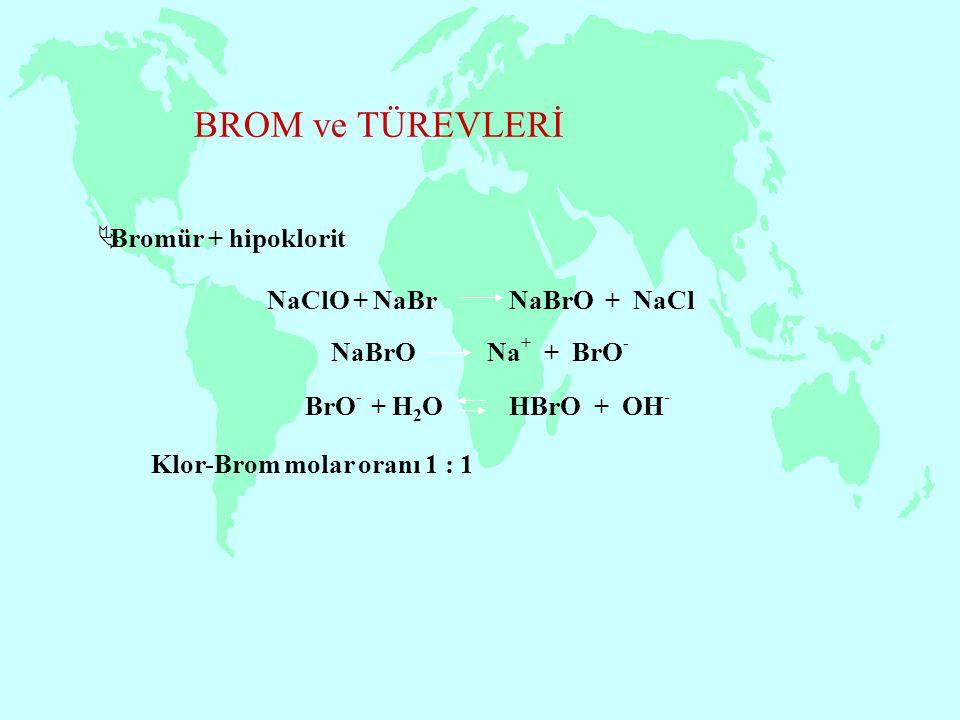 BROM ve TÜREVLERİ Bromür + hipoklorit NaClO + NaBr NaBrO + NaCl