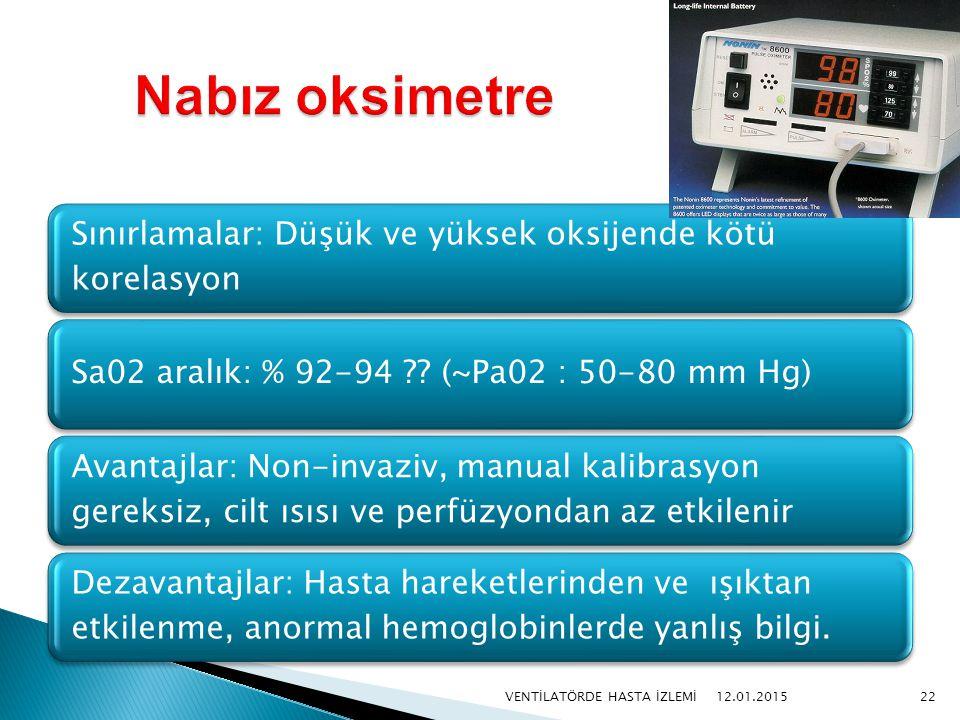 Nabız oksimetre VENTİLATÖRDE HASTA İZLEMİ 08.04.2017