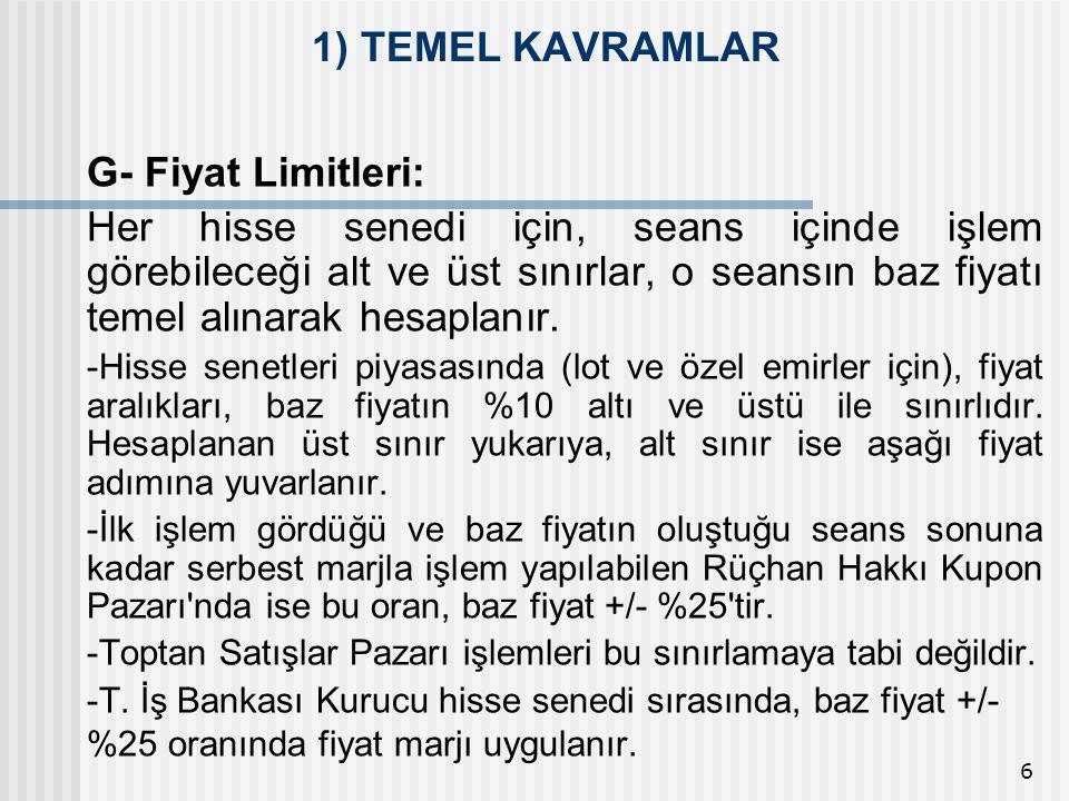 1) TEMEL KAVRAMLAR G- Fiyat Limitleri:
