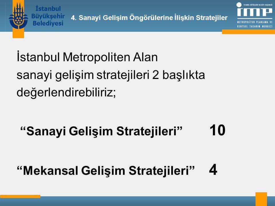 İstanbul Metropoliten Alan sanayi gelişim stratejileri 2 başlıkta